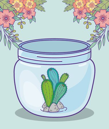 mason jar cactus and stones flowers decoration vector illustration Ilustração