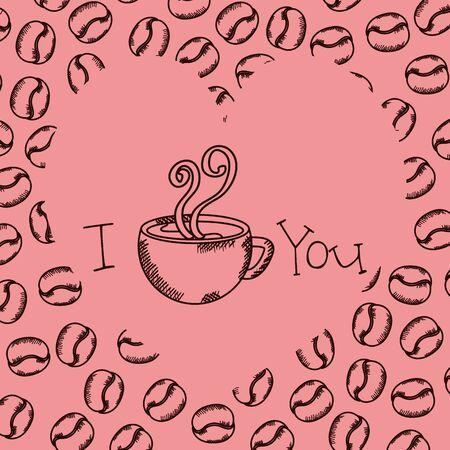 filiżanka kawy rysunek z wzorem ziaren wektor ilustracja projektu