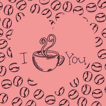 Tasse à café dessin avec des grains de conception d'illustration vectorielle