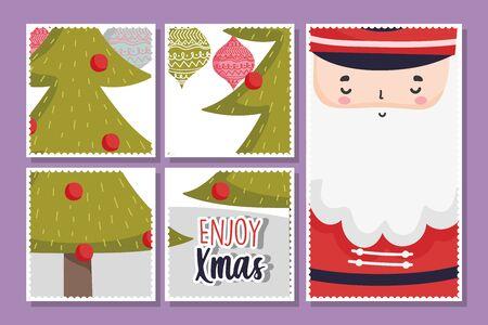 santa pine tree balls merry christmas cards vector illustration