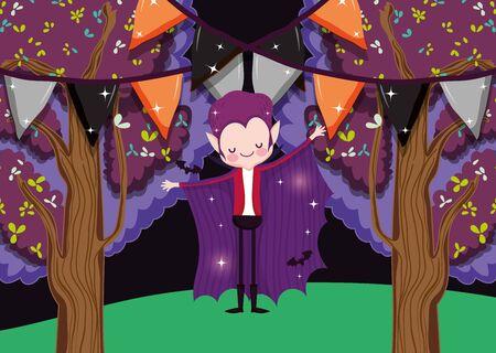 happy boy dracula costume party halloween image vector illustration