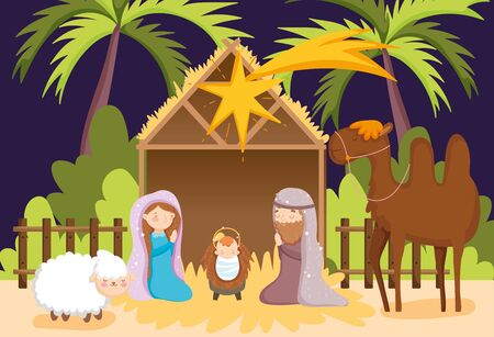 joseph and mary baby jesus camel and sheep manger nativity vector illustration