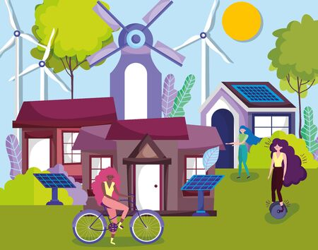 women with bicycle monocycle solar panel turbine wind houses countryside ecology vector illustration