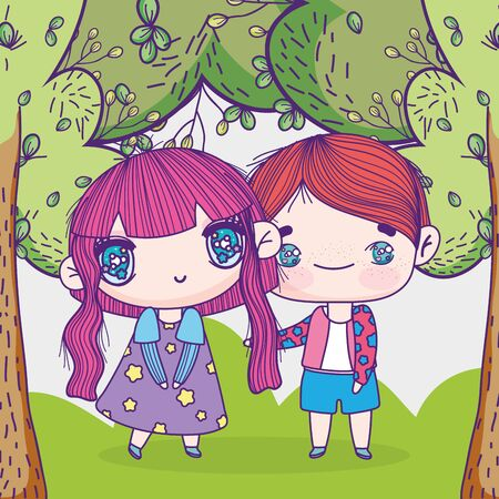 kids, little boy and girl anime cartoon in the grass trees nature vector illustration Ilustração