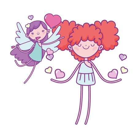 happy valentines day, cute cupids with hearts love wings arrow romantic vector illustration