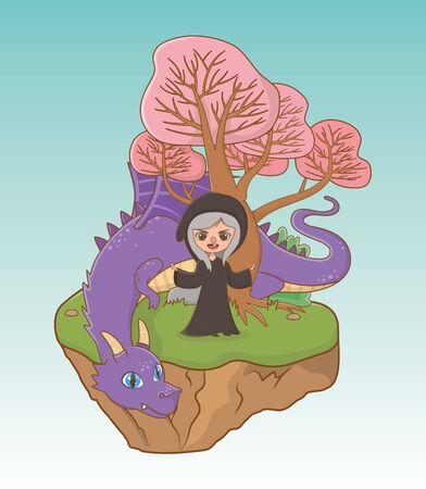 Witch and dragon of fairytale design Illustration