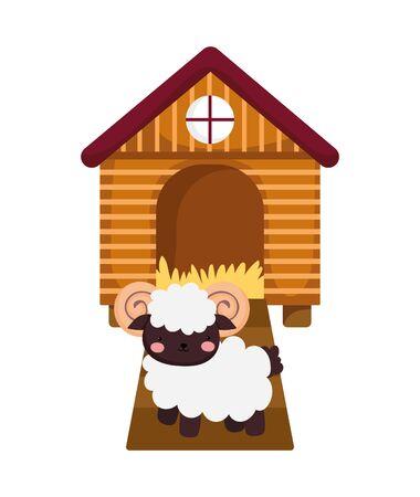 wooden house ram hay farm animal cartoon
