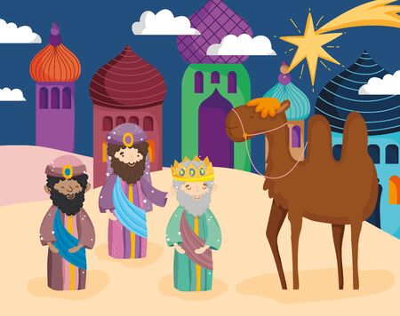wise men camel star town desert nativity Stock Illustratie