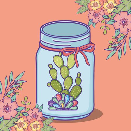 mason jar flowers and cactus with bow decoration
