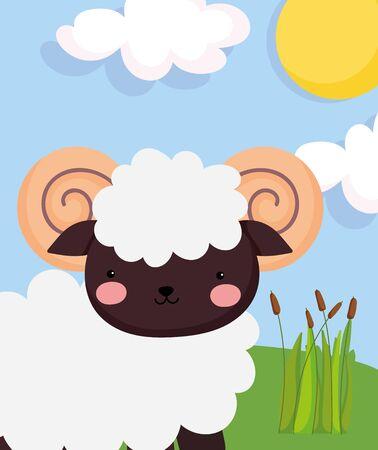 ram goat plants grass sun clouds farm animal cartoon Illustration