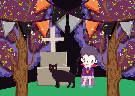 dracula boy costume with tomb and cat halloween image vector illustration