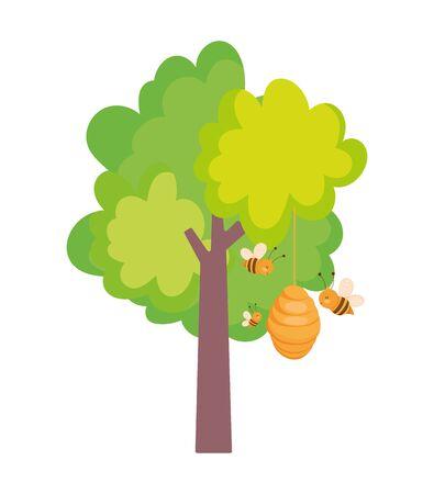 diseño de la granja del árbol de la colmena de las abejas voladoras