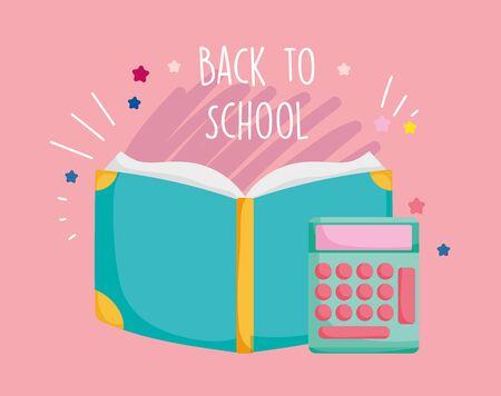 back to school education open book and calculator mathematics supply vector illustration Çizim
