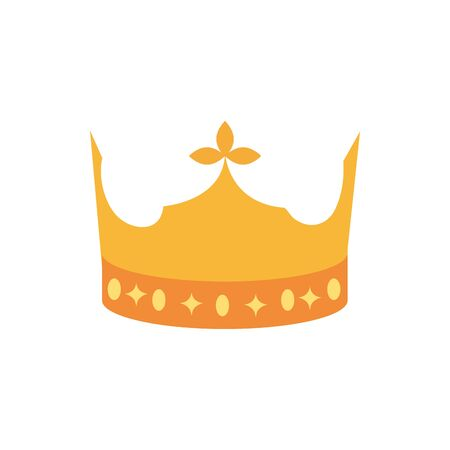 gold crown monarch jewel royalty on white background vector illustration
