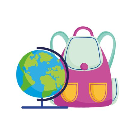 back to school education backpack and globe map geography vector illustration