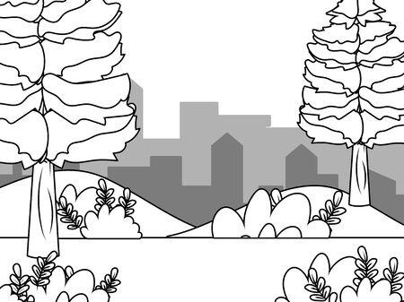 Landscape of a park with trees design Çizim