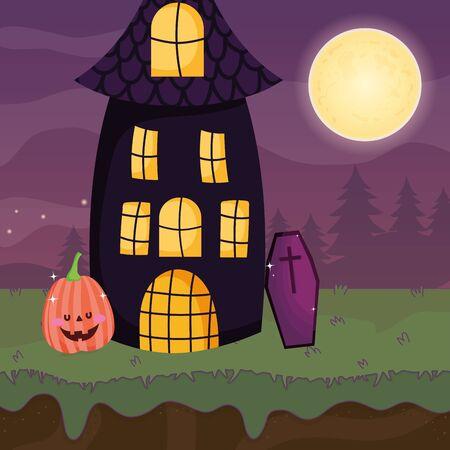 house coffin and pumpkin night trick or treat - happy halloween vector illustration Ilustração
