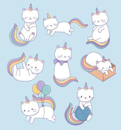 cute cats with rainbow tails kawaii characters