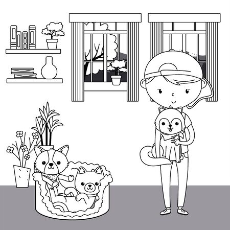 Boy with cat and dogs cartoons design Vectores