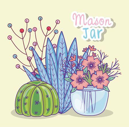 jar flowers cactus berries decoration Ilustração