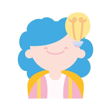 back to school education smiling young girl bulb idea creativity