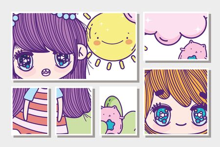 anime cute girls cat and sun clouds cards vector illustration