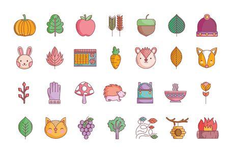 hello autumn design icons collection