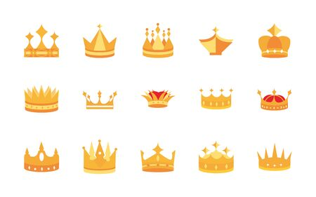 gold crowns jewel authority monarchy luxury icons set