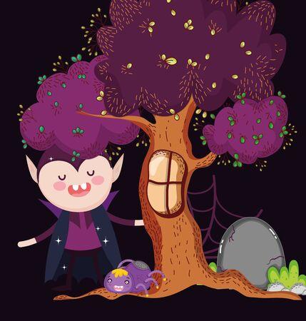 dracula with spider tree halloween vector illustration Иллюстрация