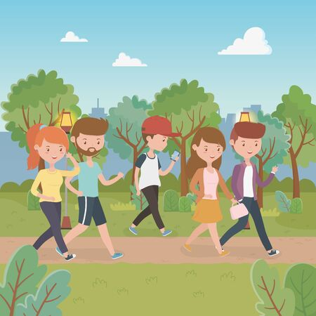young people walking in the park characters Illustration