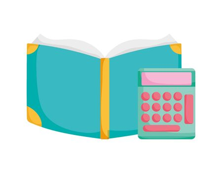 back to school education open book and calculator mathematics supply Çizim