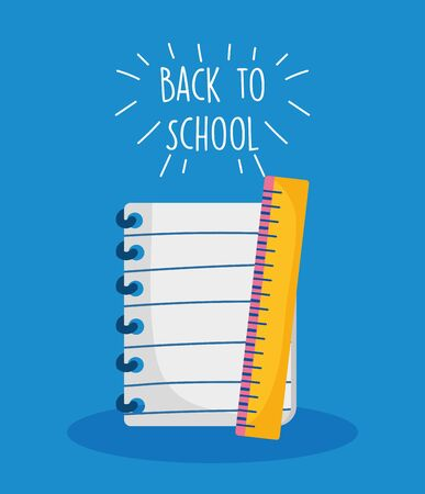 back to school education notepad and ruler measure