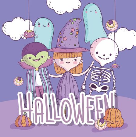 costumes witch dracula skeleton ghost trick or treat happy halloween poster