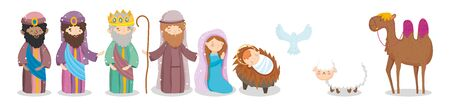 joseph mary baby wise men camel sheep pigeon crib nativity vector illustration Stock Illustratie