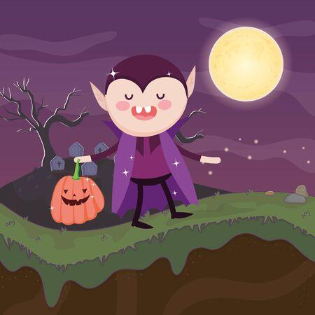dracula costume bucket pumpkin halloween image vector illustration