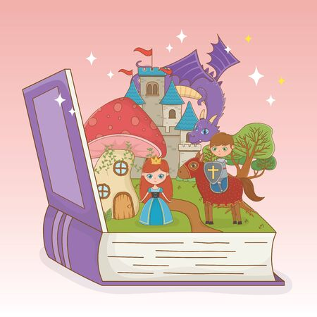 book open with fairytale castle and group characters