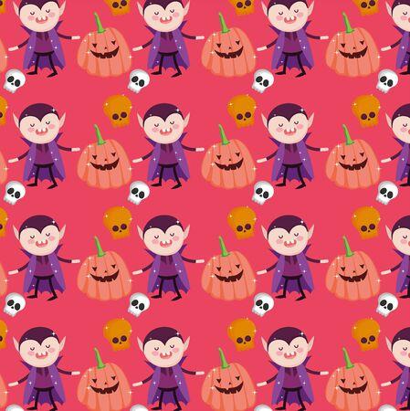 vampire pumpkin skulls background cartoon trick or treat - happy halloween