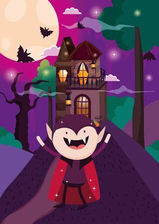 happy dracula trick or treat - happy halloween vector illustration
