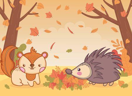 Feuillage mignon hérisson et écureuil bonjour automne vector illustration