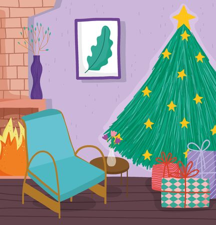 christmas tree home with stars gifts chair chimney and picture vector illustration