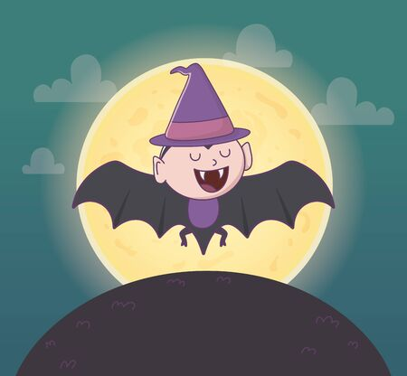 flying dracula with hat trick or treat - happy halloween vector illustration