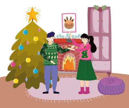 couple with mistletoe chimney tree merry christmas, happy new year vector illustration