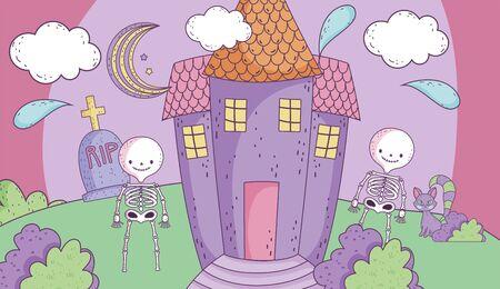 skeletons castle cemetery night trick or treat happy halloween Иллюстрация