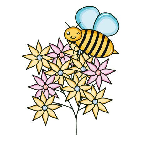 flowers garden with little bee flying kawaii character vector illustration design