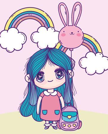 anime cute girl rabbit shape balloon rainbows bag outdoor vector illustration