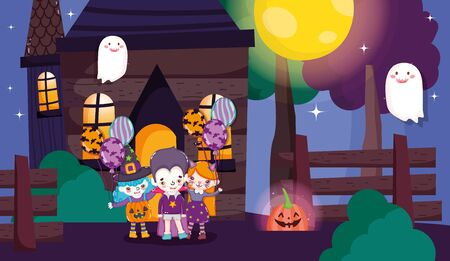 kids dracula cat and witch costumes balloons lantern pumpkin halloween image vector illustration