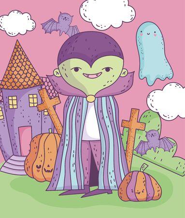 vampire character castle pumpkins trick or treat happy halloween Иллюстрация