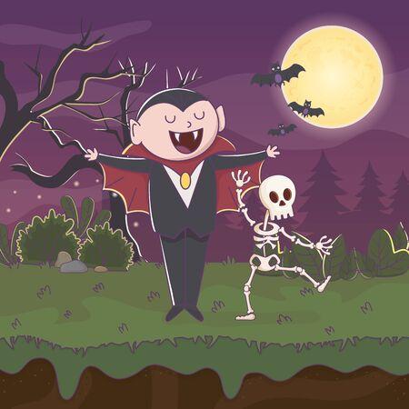 count dracula skeleton bats moon night halloween vector illustration