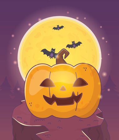 moon pumpkin lantern bats halloween vector illustration