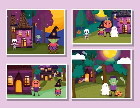 frame photos celebration trick or treat - happy halloween vector illustration